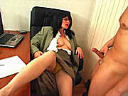 Brunette Enjoys a Hard Cock During a Coffee Break